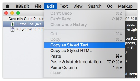 BBEdit Styled Text