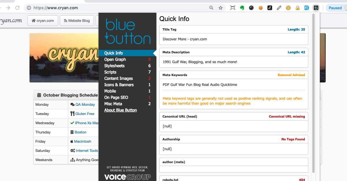 Blue Button Screen Shot