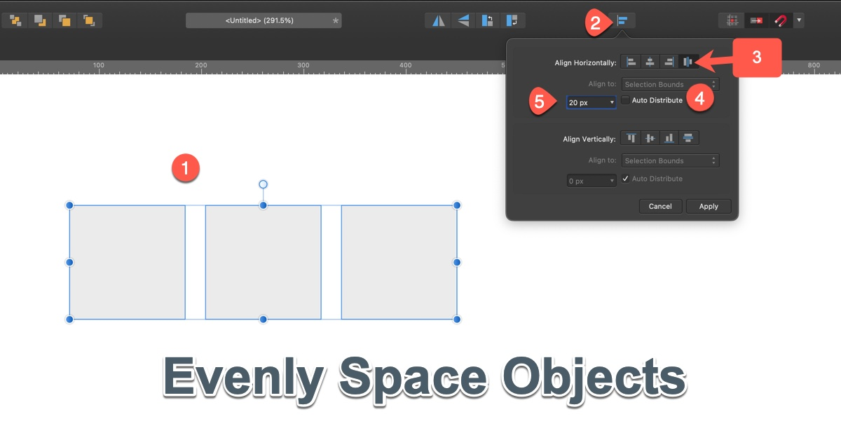 Affinity Evenly Space Objects